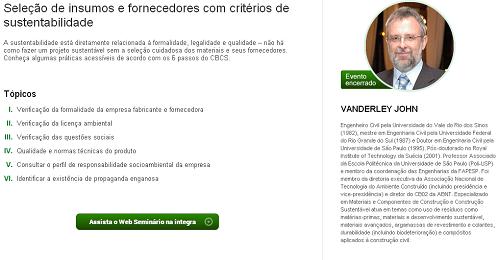 E-construmarket :: Seleção de insumos e fornecedores com critérios de sustentabilidade